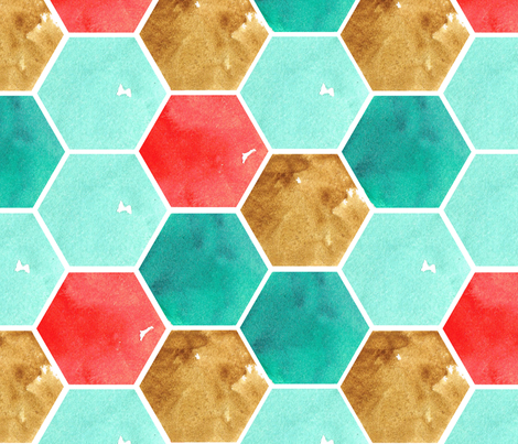 Texas Modern Honeycomb Turquoise fabric by jacinda on Spoonflower - custom fabric