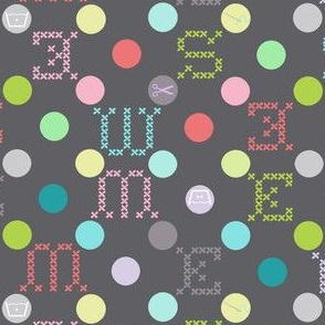 sewing celebration dots grey
