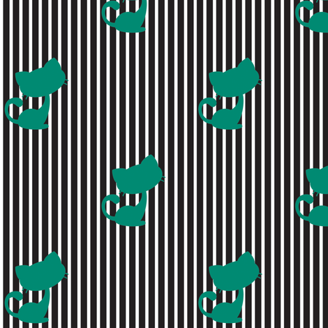 Cats and Stripes - Black fabric by christinopia on Spoonflower - custom fabric