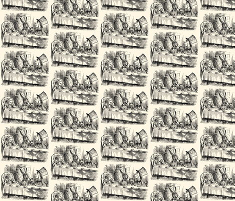 Alice and the Mad Hatter's Tea Party, illustration by John Tenniel fabric by zephyrus_books on Spoonflower - custom fabric