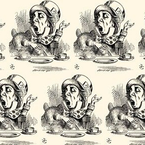 The Mad Hatter engaging in rhetoric, illustration by John Tenniel