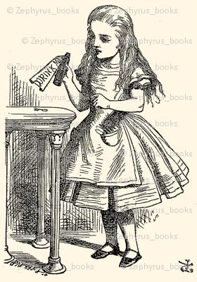 Alice Reads the Bottle - Drink Me, illustration by John Tenniel