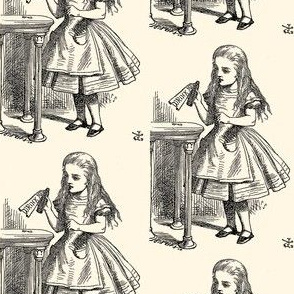 Alice Reads the Bottle - Drink Me, illustration by John Tenniel