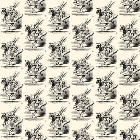The White Rabbit dressed as a herald blowing a trumpet, illustration by John Tenniel fabric by zephyrus_books on Spoonflower - custom fabric
