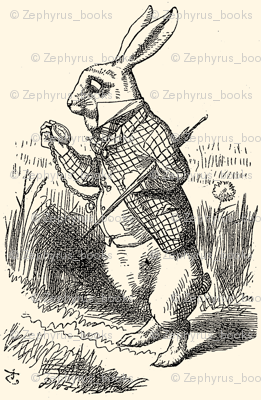 The White Rabbit checks his watch, illustration by John Tenniel
