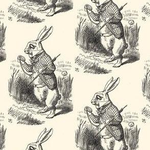The White Rabbit checks his watch, illustration by John Tenniel