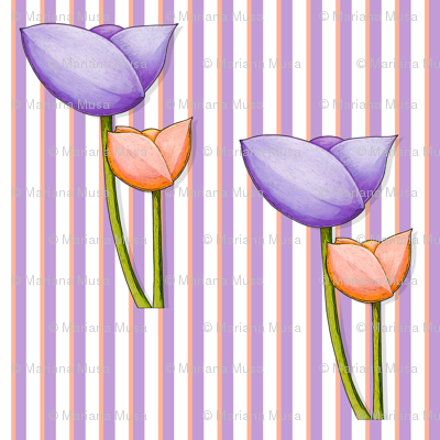 Simple Flowers purple orange on Stripes
