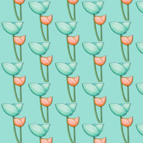 Simple Flowers teal orange on Teal