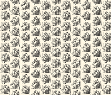 Alice Looking for the Door, illustration by John Tenniel fabric by zephyrus_books on Spoonflower - custom fabric