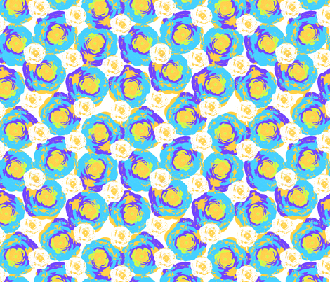 blue roses in spring time fabric by sofiedesigns on Spoonflower - custom fabric