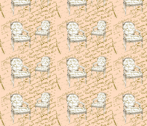 Two French Chairs, creamsicle fabric by karenharveycox on Spoonflower - custom fabric