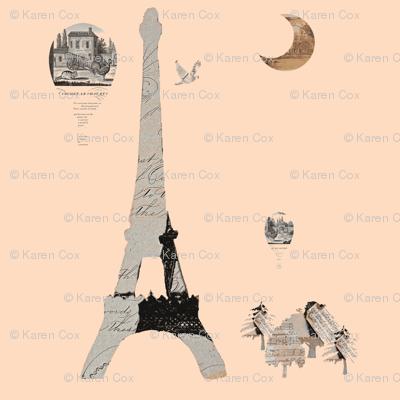 "Eiffel Tower Creamsicle 12"" x 12"""