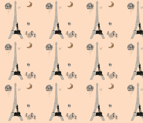 "Eiffel Tower Creamsicle 12"" x 12"" fabric by karenharveycox on Spoonflower - custom fabric"