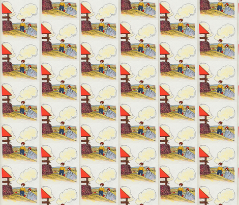 Mother Goose Nursery Rhyme Jack and Jill went up the hill fabric by zephyrus_books on Spoonflower - custom fabric