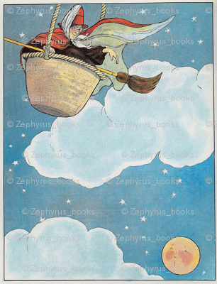 Mother Goose Nursery Rhyme There was an old woman tossed in a basket, Seventeen times as high as the moon