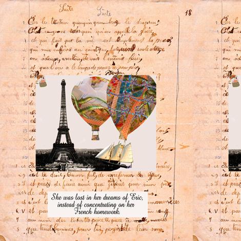 French Homework Daydreams Personalized fabric by karenharveycox on Spoonflower - custom fabric