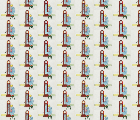 Mother Goose Nursery Rhyme Hickory, dickory, dock! The mouse ran up the clock  fabric by zephyrus_books on Spoonflower - custom fabric