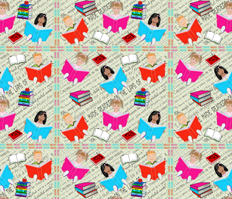 Children Reading fabric by dancingwithfabric on Spoonflower - custom fabric