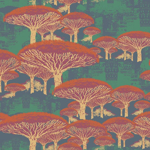 Socotra Dragon Trees Japonica colorway