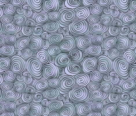 Large Celtic Tri-Spiral Silver fabric by cherryandcinnamon on Spoonflower - custom fabric