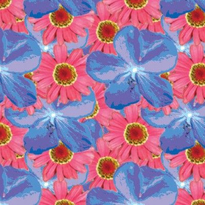 Blues and Pinks Water Color Floral Large