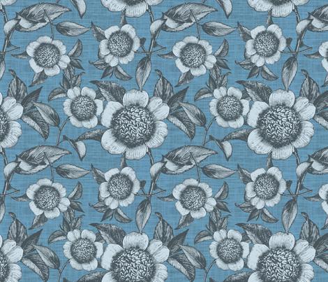 Camelia Organica Blue fabric by brainsarepretty on Spoonflower - custom fabric