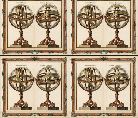 Astronomy 1770 Globes and Armillary Spheres fabric by zephyrus_books on Spoonflower - custom fabric