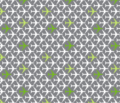 Green Planes on Gray fabric by toothpanda on Spoonflower - custom fabric