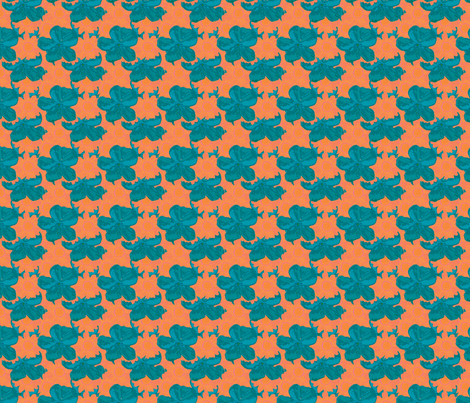 Teal Orange Watercolor Floral  fabric by coveredbydesign on Spoonflower - custom fabric