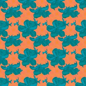 Teal Orange Watercolor Floral