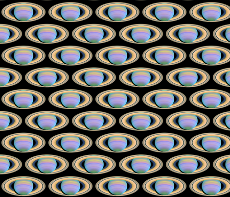 Astronomy Saturn and its Rings in Ultraviolet Light fabric by zephyrus_books on Spoonflower - custom fabric