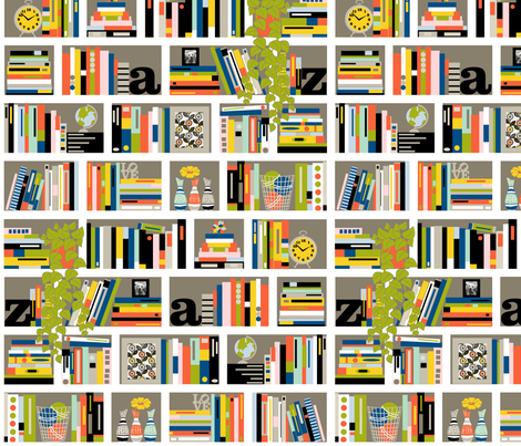 Staxx || books shelves reading typography stripes plant library bookstore literature fabric by pennycandy on Spoonflower - custom fabric