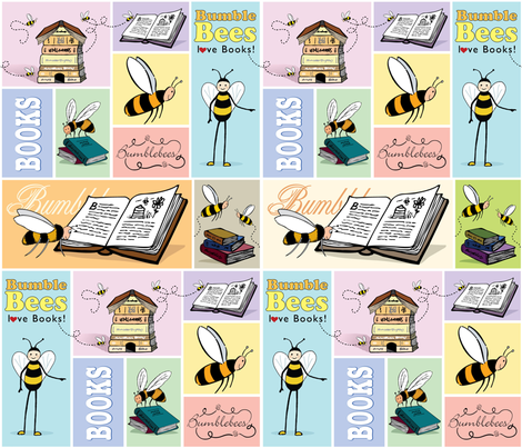 Bees_love_Books fabric by peppermintpatty on Spoonflower - custom fabric