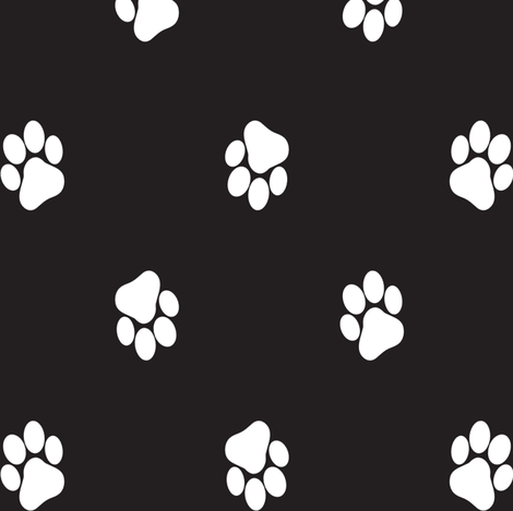 Paws white on black. fabric by pininkie on Spoonflower - custom fabric