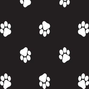 Paws white on black.
