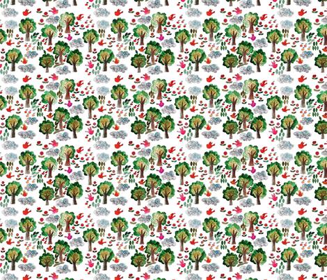 amour d'oiseau dans la forêt M fabric by nadja_petremand on Spoonflower - custom fabric