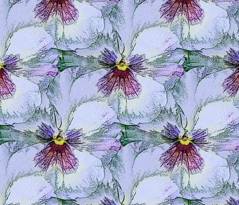 Pale pastel blue pansy fabric by vib on Spoonflower - custom fabric