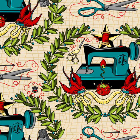 Reap what you Sew - Multi fabric by thirdhalfstudios on Spoonflower - custom fabric