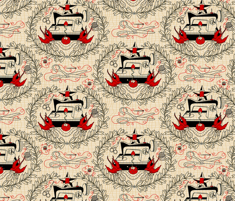 Reap what you Sew - Red Thread fabric by thirdhalfstudios on Spoonflower - custom fabric