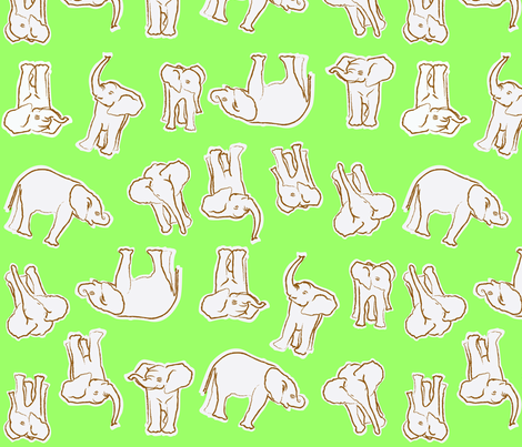baby_elephants_mint_n_creme fabric by mackerilla on Spoonflower - custom fabric