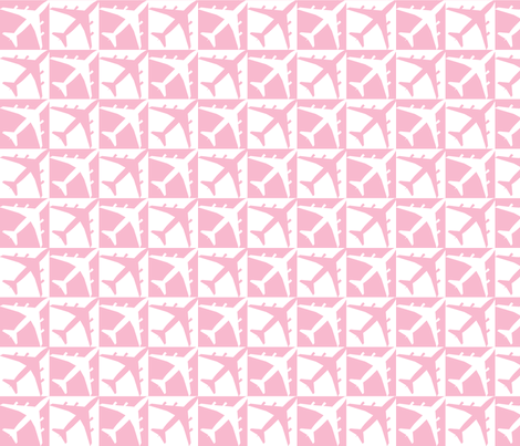 Pink Plane Check fabric by toothpanda on Spoonflower - custom fabric