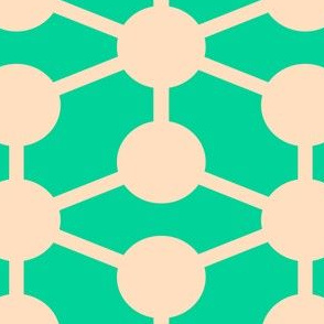 simple molecule in retro green