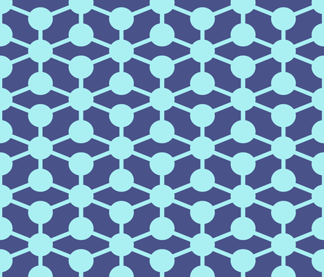 simple molecule in dark blue fabric by jenr8 on Spoonflower - custom fabric