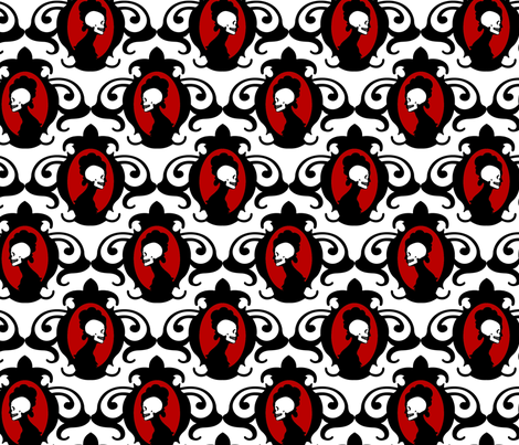 Flourish Black with Red and White detail fabric by thirdhalfstudios on Spoonflower - custom fabric