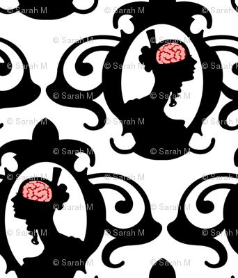 Girls with Brains - Black on White Ground