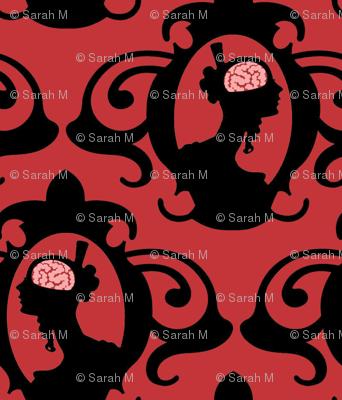 Girls with Brains - Black on Red Ground