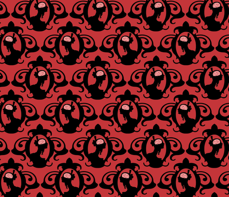 Girls with Brains - Black on Red Ground fabric by thirdhalfstudios on Spoonflower - custom fabric