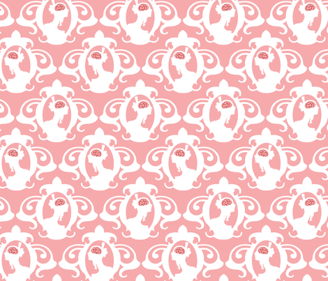Girls with Brains - White on Pink fabric by thirdhalfstudios on Spoonflower - custom fabric