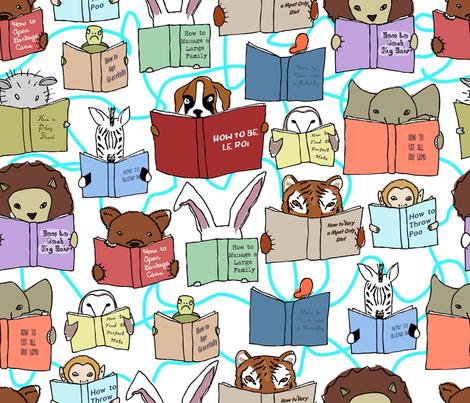 animals reading fabric by babysisterrae on Spoonflower - custom fabric