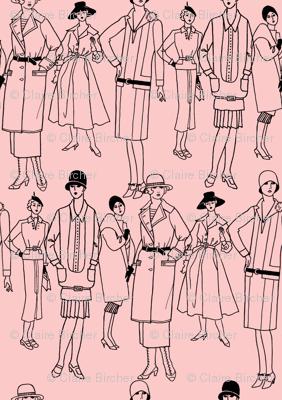 Fashion Parade, black on pink